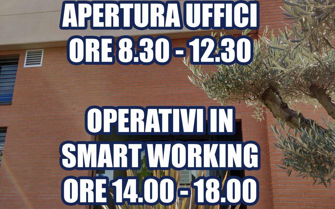 COMUNICAZIONE IMPORTANTE: Chiusura pomeridiana uffici – Piena operatività in Smart Working